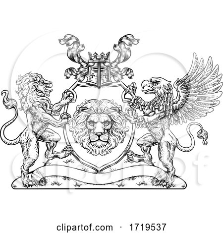 Coat of Arms Crest Griffin Lion Family Shield Seal by AtStockIllustration