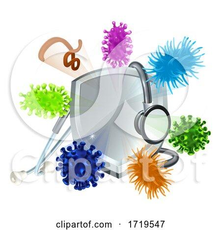 Stethoscope Shield Medical Virus Bacteria Cells by AtStockIllustration