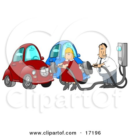 Caucasian Couple, a Man and a Woman, in Their Garage, Plugging in their Electric Cars to Sockets to Charge  Posters, Art Prints
