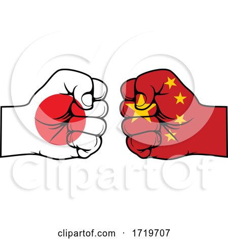 Fisted Japanese and Chinese Flag Hands Posters, Art Prints