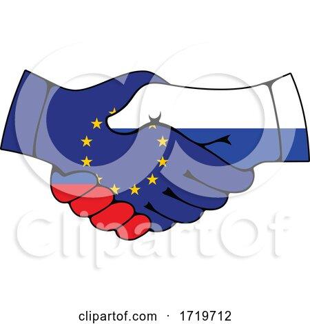 Russia and European Union Flag Handshake Posters, Art Prints