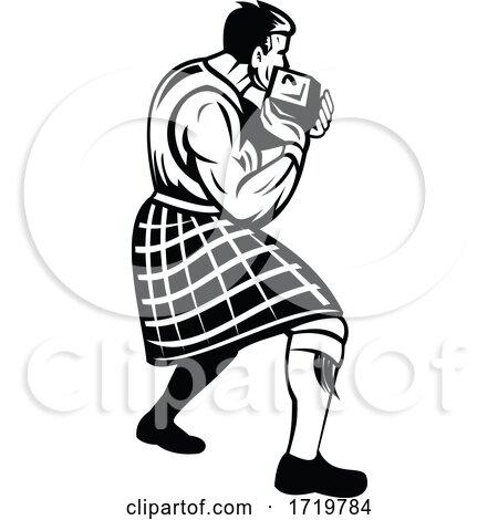 Highlander Putting Heavy Stone or Stone Put in Scottish Highland Games Retro Black and White by patrimonio