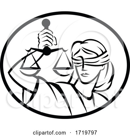 Lady Justice with Blindfold and Beam Balance or Weighing Scale Retro Woodcut Black and White by patrimonio