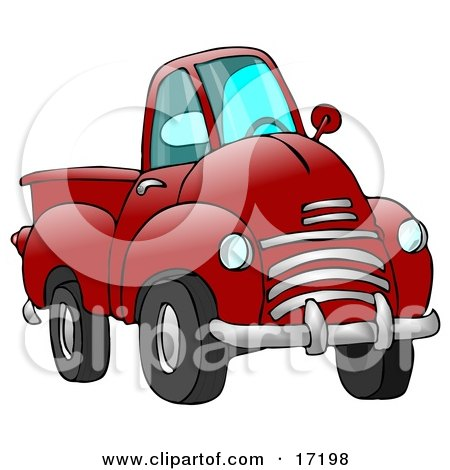Big Red Pickup Truck Clipart Illustration by Dennis Cox