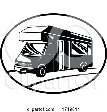 Campervan or Motorhome Side View Oval Retro Black and White by patrimonio