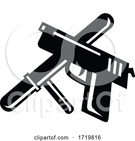 Crossed Police Baton Truncheon and Hand Gun Retro Black and White by patrimonio