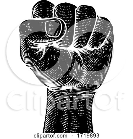 Fist in the Air Vintage Propaganda Poster Style by AtStockIllustration