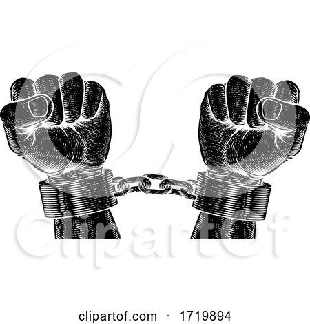 Prisoner Shackles Chained Hands Vintage Woodcut Posters, Art Prints