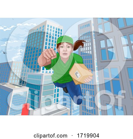Delivery Courier Superhero Flying Super Hero by AtStockIllustration