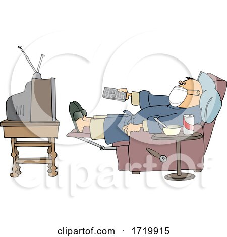Sick Man Wearing a Mask While Watching TV at Home by djart