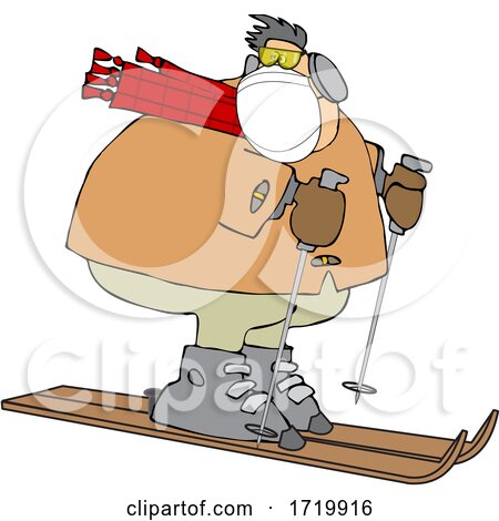 Cartoon Overweight Man Wearing a Mask and Skiing by djart