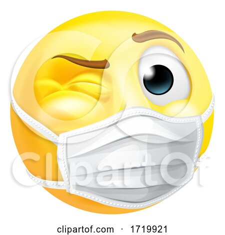 Emoji Emoticon PPE Medical Mask Face Winking Posters, Art Prints