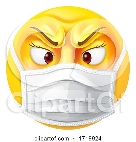 Angry Female Emoticon Emoji PPE Medical Mask Icon Posters, Art Prints