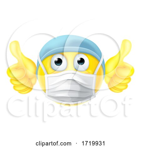 Mask Emoticon Emoji Thumbs up PPE Doctor Nurse Posters, Art Prints