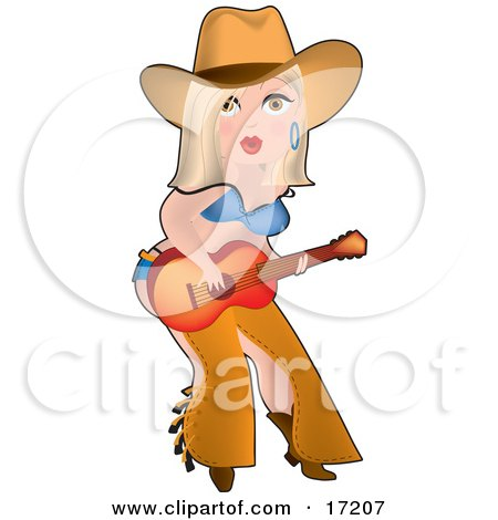 Sexy Blond Caucasian Cowgirl In Chaps, A Bra And Underwear, Playing A Guitar While Entertaining On Stage Clipart Illustration by Maria Bell