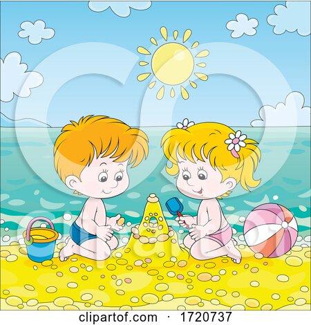 Children Playing on a Beach by Alex Bannykh