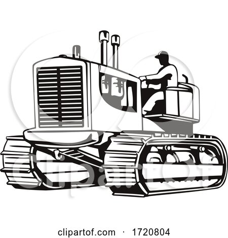 Vintage Large Heavy Tractor or Tracked Heavy Equipment Side View Retro Woodcut Black and White Posters, Art Prints