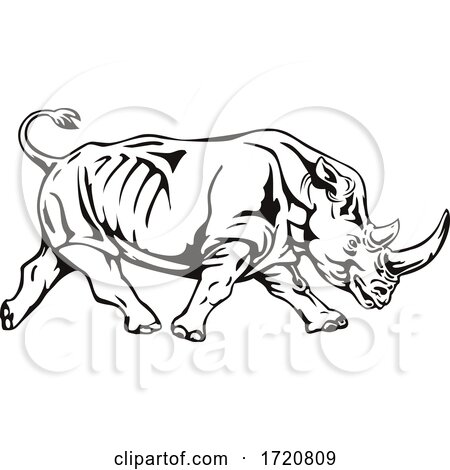 Northern White Rhinoceros or Square Lipped Rhinoceros Charging Side View Retro Woodcut Black and White by patrimonio