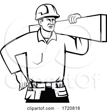 Builder or Handyman Wearing Hard Hat Carrying Timber Retro Black and White by patrimonio