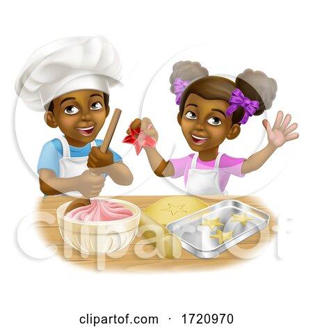 Black Girl and Boy Cartoon Child Chef Cook Kids by AtStockIllustration
