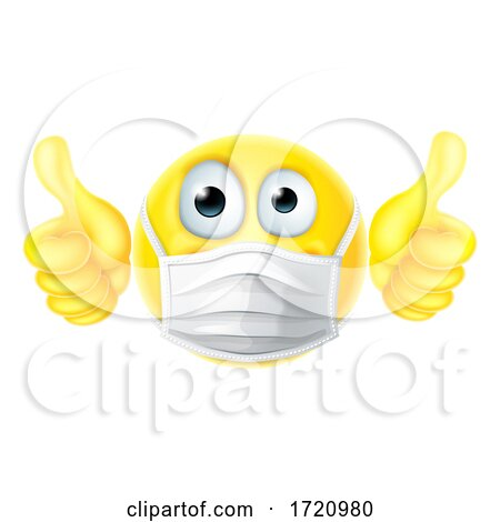 Thumbs up Emoticon Emoji PPE Mask Face Icon Posters, Art Prints