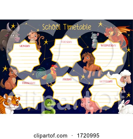 Chinese Zodiac School Time Table by Vector Tradition SM