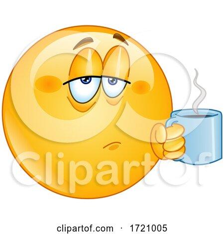 Cartoon Smiley Emoji Drinking Coffee Posters, Art Prints