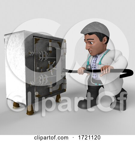3D Render of Doctor Character on a Shaded Background Posters, Art Prints
