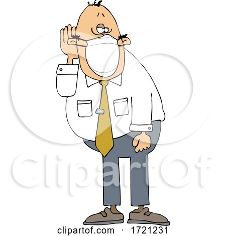 Cartoon Businessman Who Is Hard at Hearing Cupping His Ear to Listen and Wearing a Mask by djart