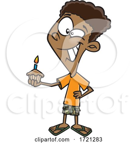 Cartoon Boy Holding a Birthday Cupcake Posters, Art Prints