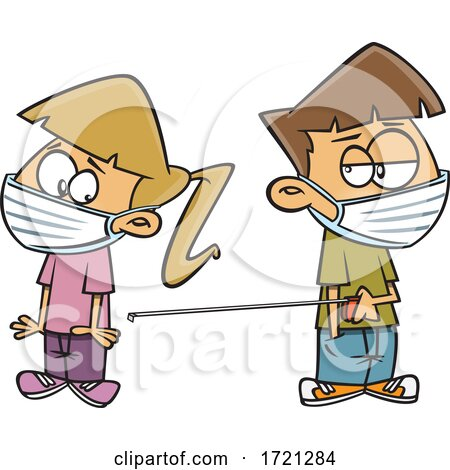 Cartoon Kids Wearing Masks and Keeping Social Distance with a Tape Measure by toonaday