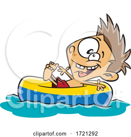 Cartoon Boy Floating on a River Tube Posters, Art Prints
