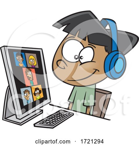 Cartoon Boy on a Zoom Call Posters, Art Prints
