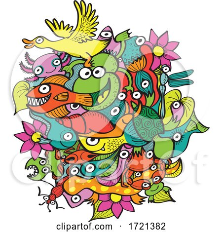 Cartoon Ducks Frogs Flowers Snails and Fish by Zooco