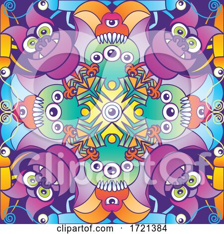 Seamless Creepy Monster Pattern by Zooco