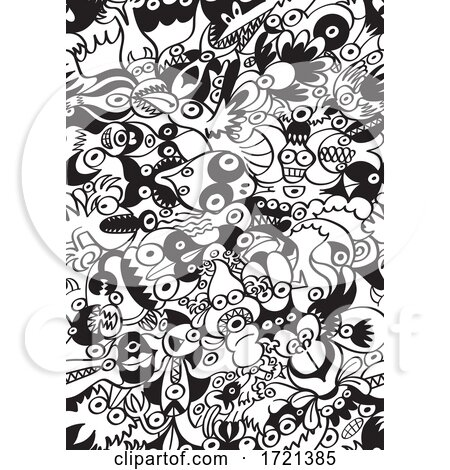 Seamless Black and White Monster Pattern by Zooco