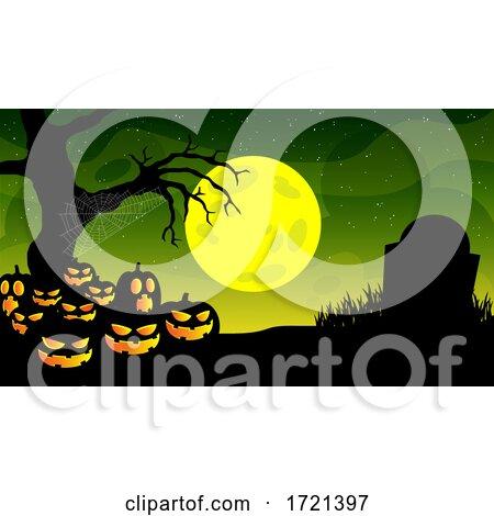Illuminated Halloween Jackolantern Pumpkins in a Graveyard by Hit Toon