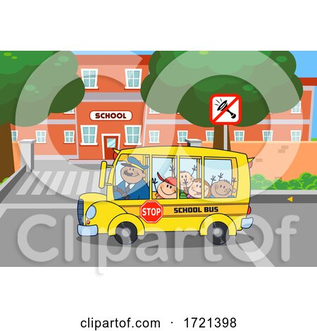 Happy Bus Driver and Kids Going Back to School by Hit Toon