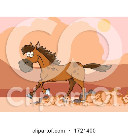Horse Running in a Desert by Hit Toon
