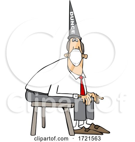 Cartoon Businessman Wearing a Dunce Hat and Sitting on a Stool by djart