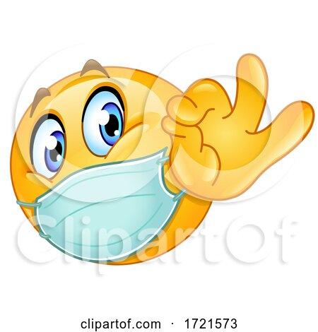 Emoji Smiley Emoticon Gesturing OK and Wearing a Mask Posters, Art Prints