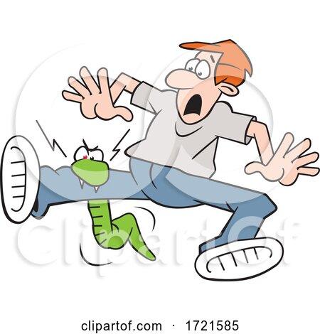 Cartoon Snake Biting a Man on the Leg by Johnny Sajem