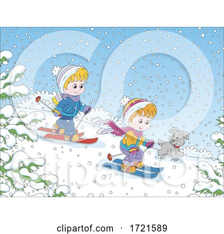 Children Playing in the Snow by Alex Bannykh