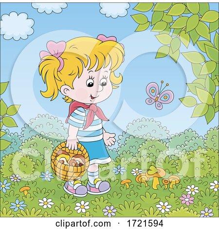 Little Girl Mushroom Picking by Alex Bannykh