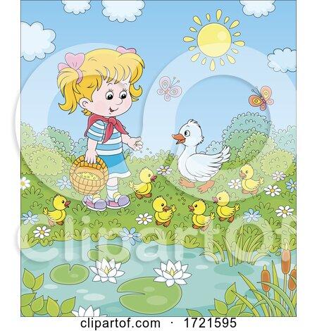 Little Girl with Ducks by Alex Bannykh