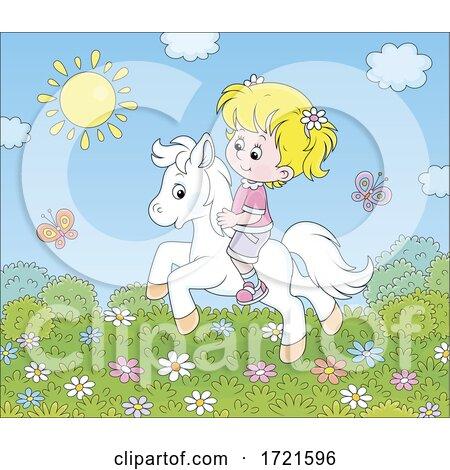 Little Girl Riding a Pony by Alex Bannykh