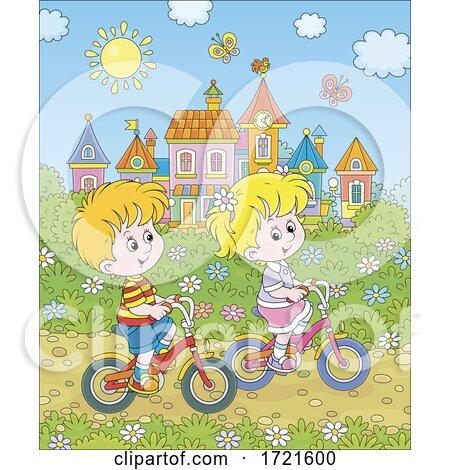 Children Riding Bikes by Alex Bannykh