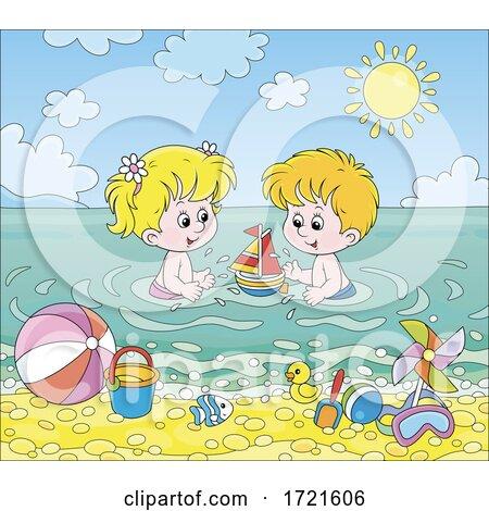 Children Playing at a Beach by Alex Bannykh
