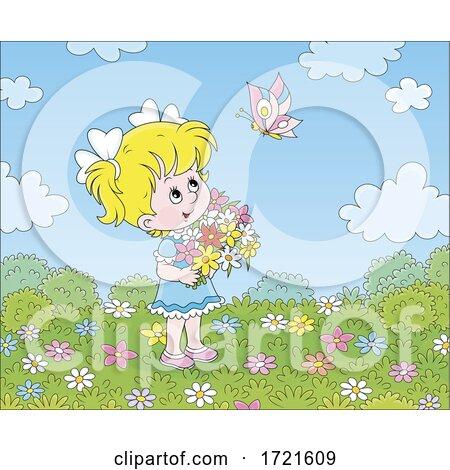 Little Girl Picking Flowers by Alex Bannykh