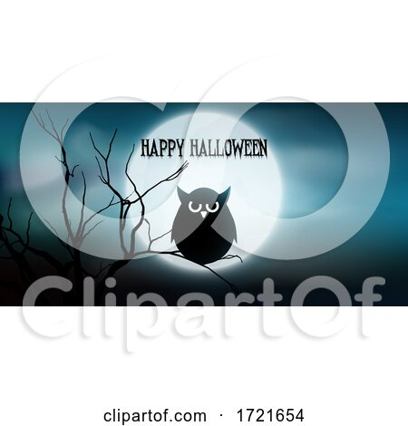 Halloween Banner with Owl and Tree Against Moon by KJ Pargeter